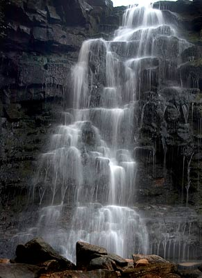 Close up of waterfall at Middle Black Clough