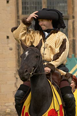 Sir George Melton greets the crowd, Knights Tournament at Bolsover Castle