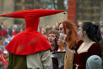 Jester entertains, Knights Tournament at Bolsover Castle