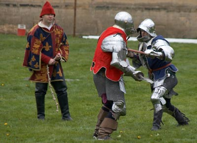 South (red) battles with North (blue) in Foot Combat, Knights Tournament at Bolsover Castle