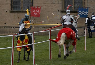 Sir George Melton (yellow) jousts against Sir Thomas Heron (red), Knights Tournament at Bolsover Castle